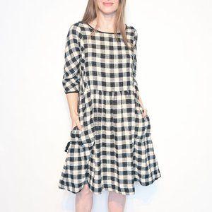 GORMAN Black & White Plaid Linen Cotton Dress
